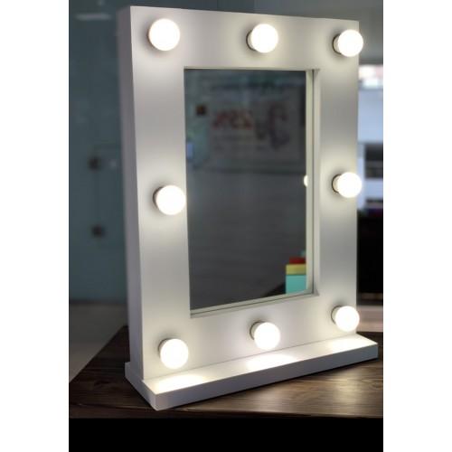 Гримерное зеркало с лампочками на подставке 60х45 см